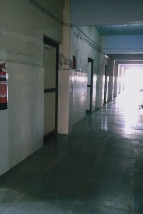 The corridor leading to isolation rooms in Pathanamthitta's General Hospital. (Photography: Anugeeth AG)