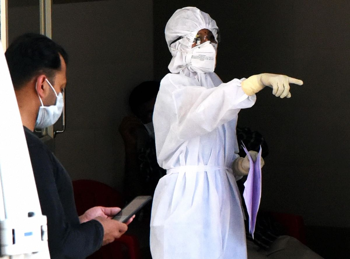 A medic wearing protective suit, outside an isolation ward,  at a government general hospital in Kochi, Kerala, on March 15, 2020. (Photograph: PTI)