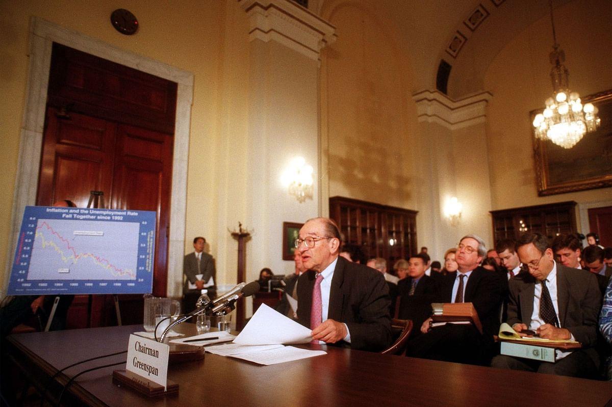 Then U.S. Fed Chairman Alan Greenspan giving congressional testimony, in Washington D.C., on June 17, 1999 . (Photographer: Linda Spillers/Bloomberg News)