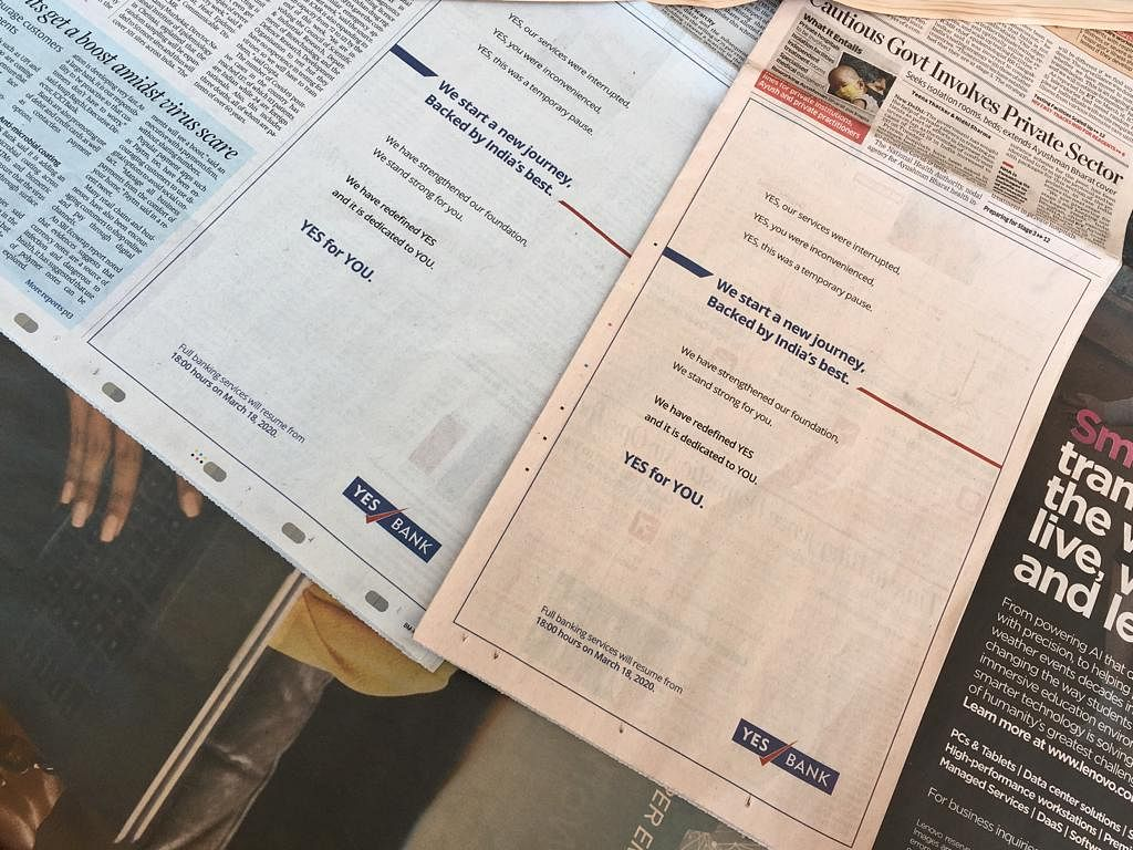 Newspaper advertisements by Yes Bank ahead of its moratorium being lifted on March 18. (Source: BloombergQuint)