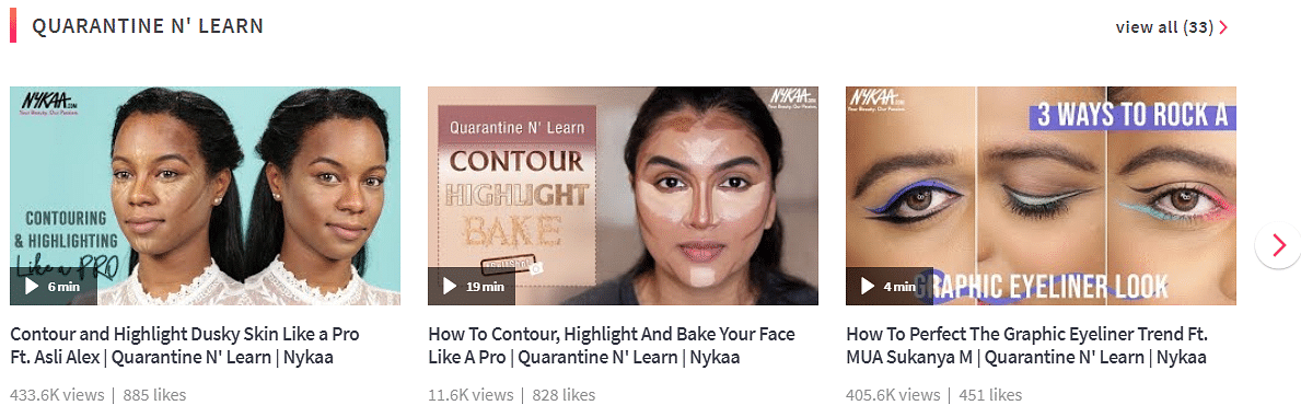 A screengrab of the Nykaa TV page and current content on it. (Image: Nykaa website)
