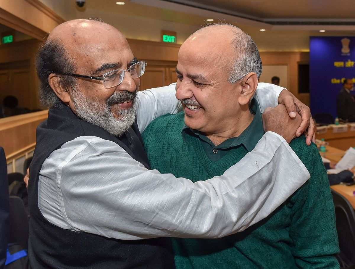 Kerala Finance Minister Thomas Isaac with Delhi Finance Minsiter Manish Sisodia, at a GST Council meeting, in New Delhi. (Photograph: PTI)