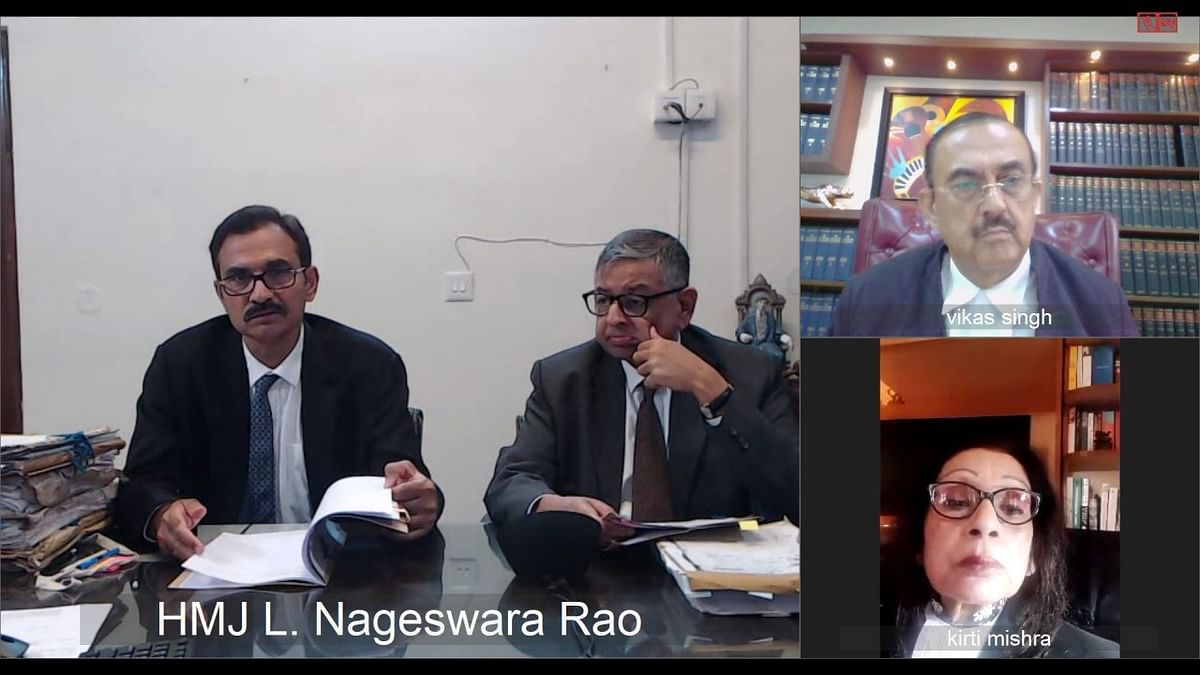 Supreme court Justices L Nageswara Rao and Aniruddha Bose hearing a  case on video conference. (Photograph: Supreme Court of India)