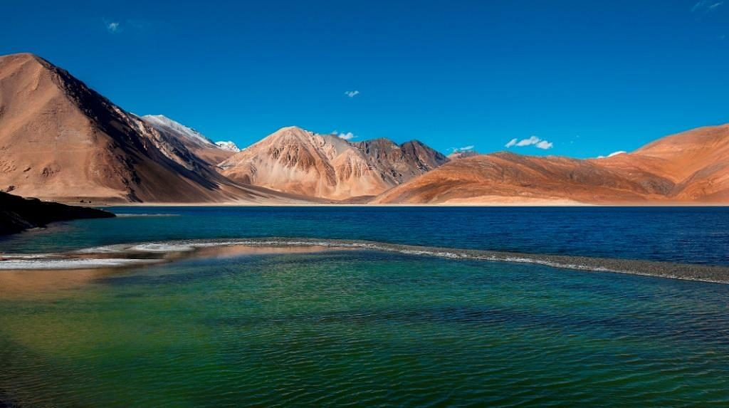 Pangong Tso, in eastern Ladakh, on the border with Tibet. (Photograph: Government of India)