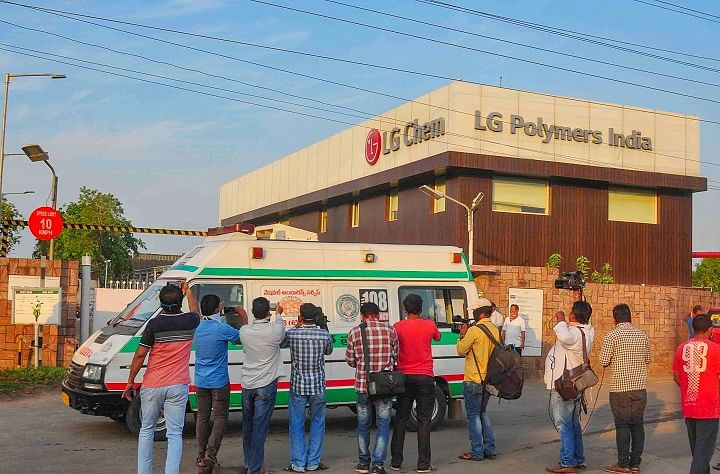 An ambulance outside the LG Polymers factory in Vishakapatnam. (Photo: PTI)