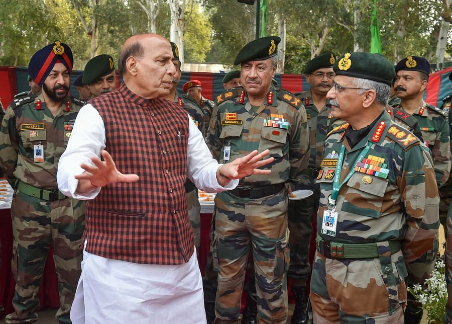 Rajnath Singh interacts with Army Chief General MM Naravane, in Delhi, on Feb. 21, 2020. (Photograph: PTI)