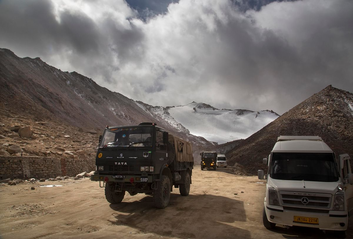 A file photo of an Indian Army truck crossing Chang la pass near Pangong Lake in Ladakh. (Photo: AP/PTI)