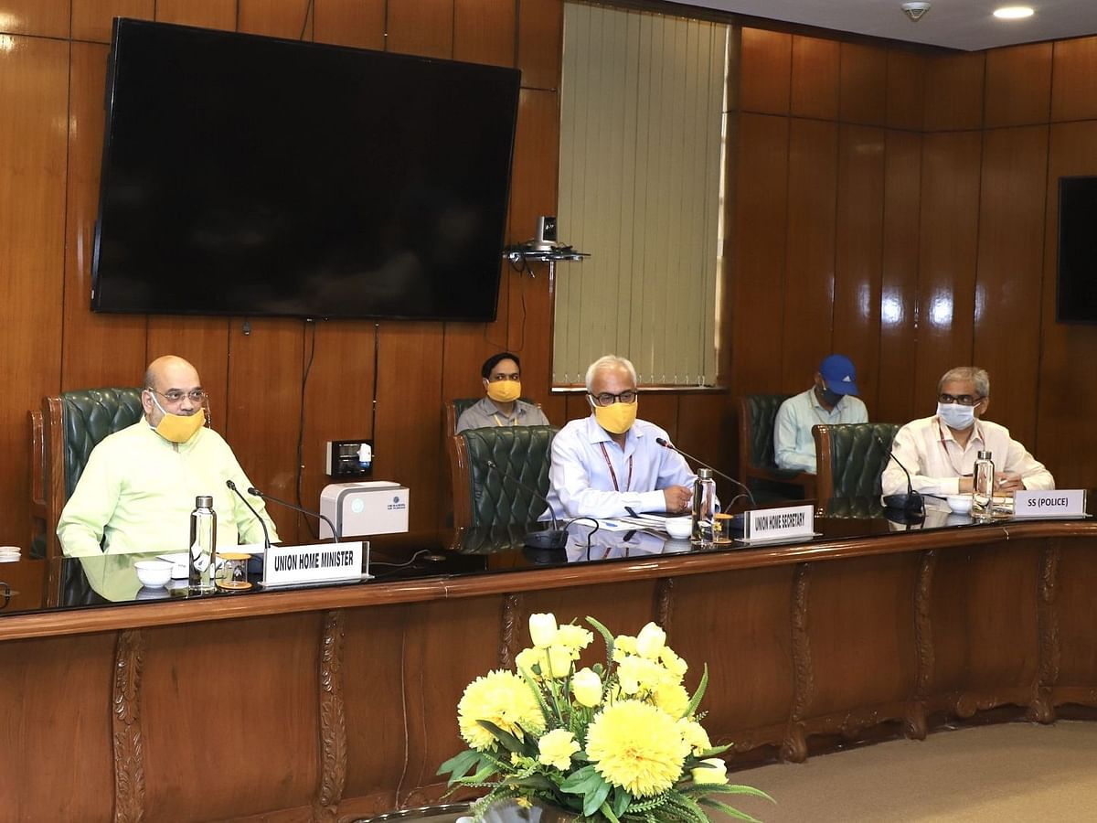 Home Minister Shri Amit Shah chairing a meeting, in New Delhi, on May 8, 2020. (Photograph: PIB)