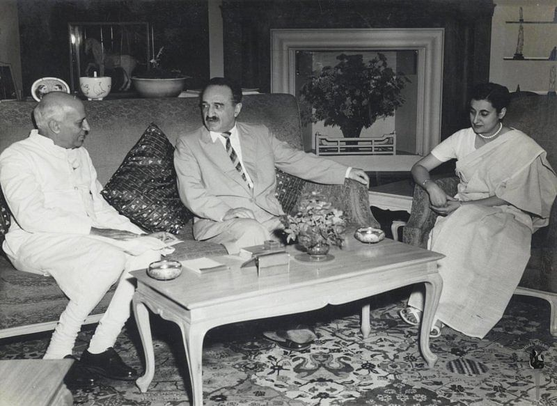 Jawaharlal Nehru and Indira Gandhi with AI Mikoyan, First Deputy Premier of the USSR, 1956. (Photograph: NMML/Government of India)