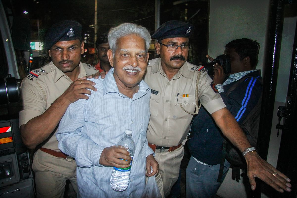 P Varavara Rao being produced at a court, in Pune, on Aug. 29, 2018. (Photograph: PTI)
