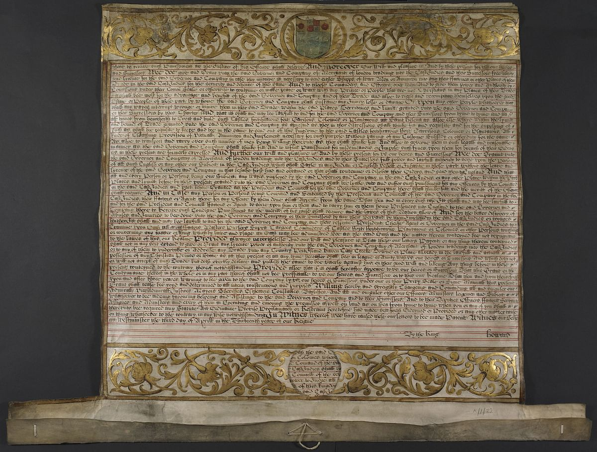 A 'letter patent' by William III and Mary II, prescribing regulations for the conduct of business of the East India Company, in 1693. (Image: The British Library)