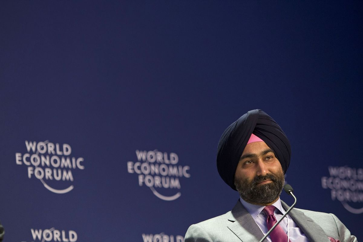Malvinder Mohan Singh attends a panel discussion at a World Economic Forum event. (Photographer: Brent Lewin/Bloomberg)