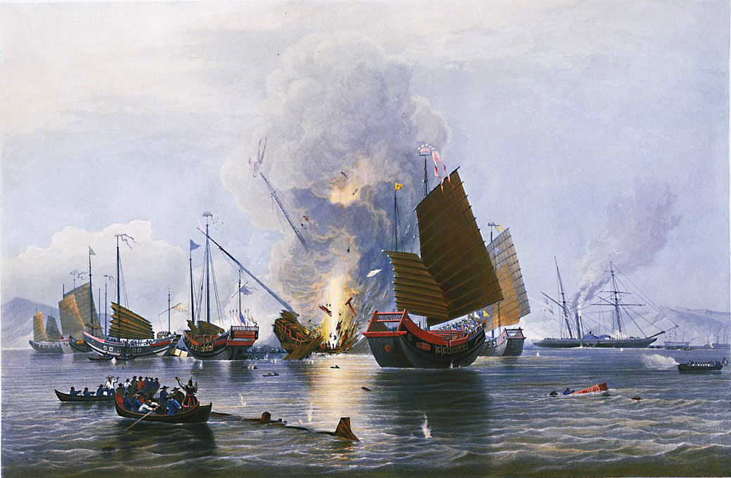 An engagement in the First Opium War, showing the 'Nemesis' attacking a fleet of Chinese war junks in the middle ground, on Jan 17, 1841. (Image: British National Army Museum/MIT)