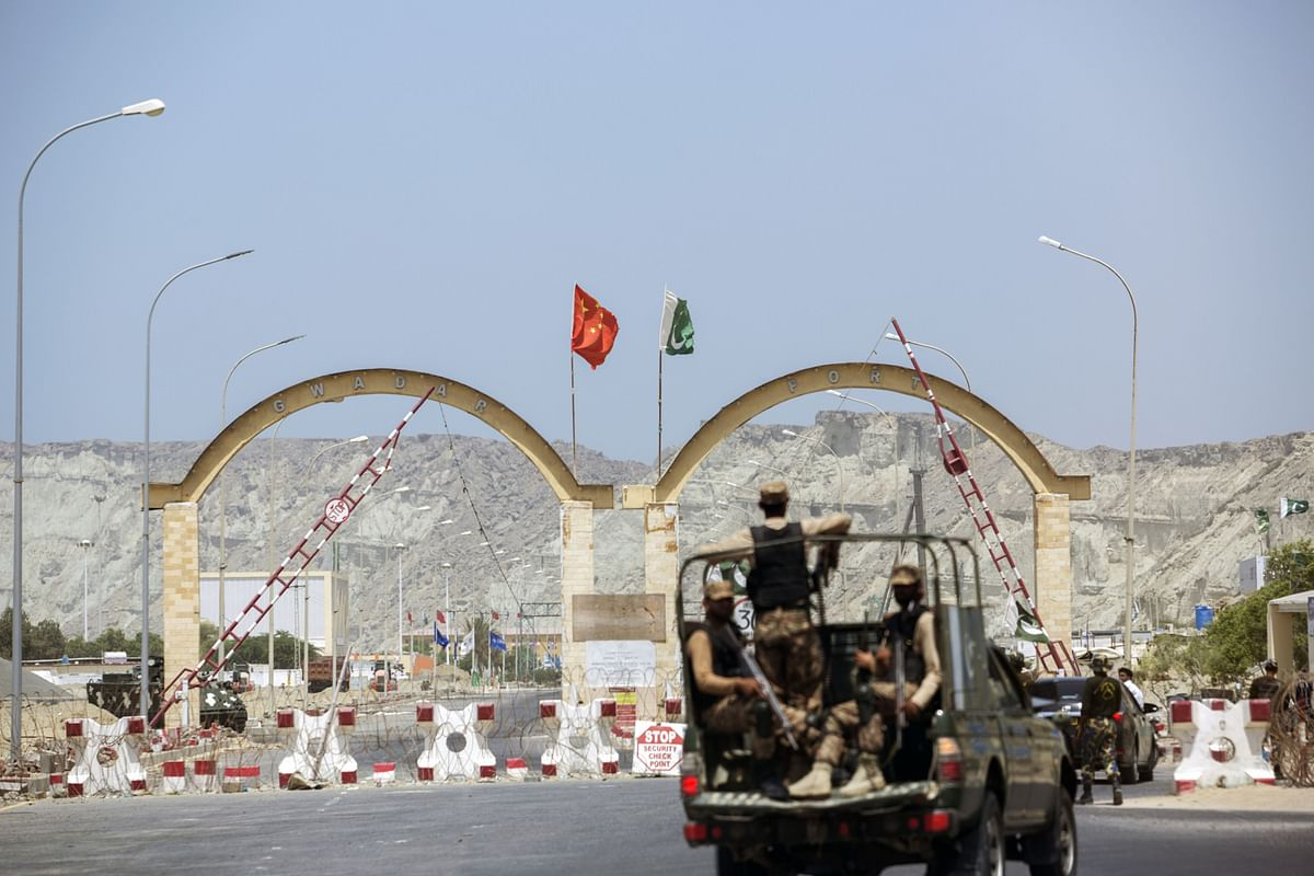 An entrance to Gwadar Port, operated by China Overseas Port, in Balochistan, Pakistan. (Photographer: Asim Hafeez/Bloomberg)