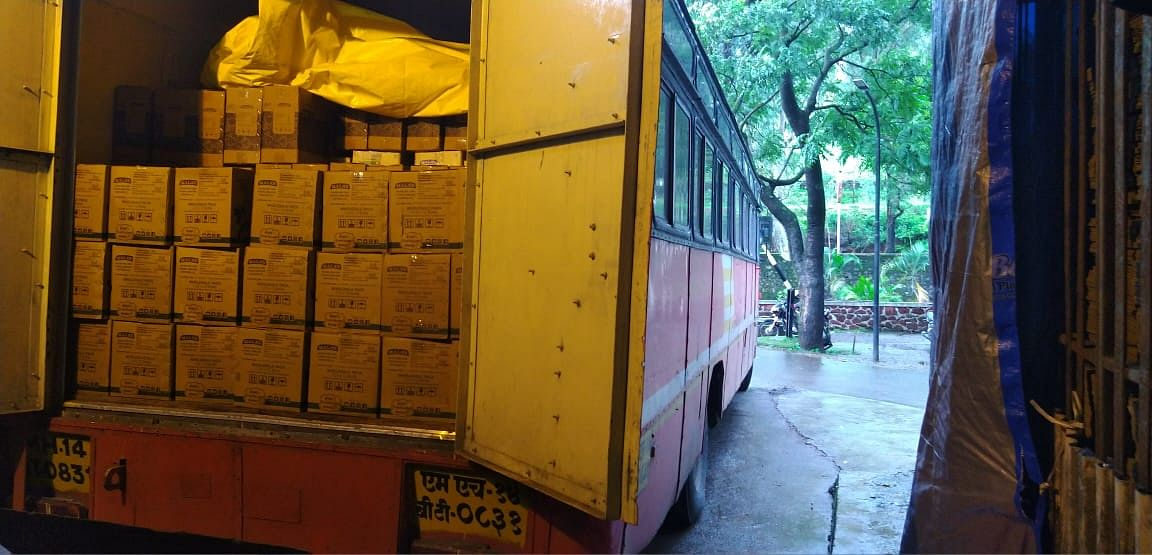 Mala's stocking up a state transport bus with its jams and crushes. (Source: Mala's Fruit Products)