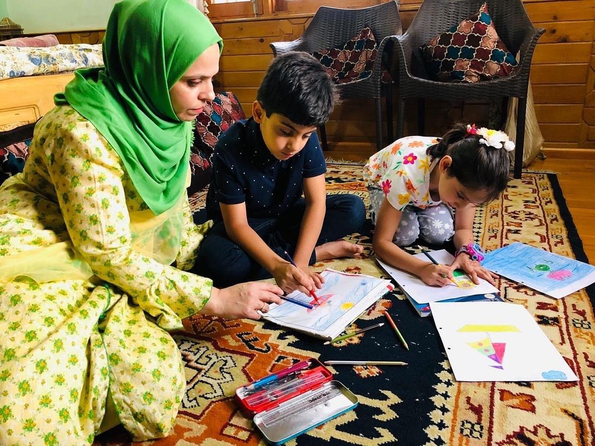 Nusrat Jahan homeschooling her children. (Photograph courtesy Nusrat Jahan)