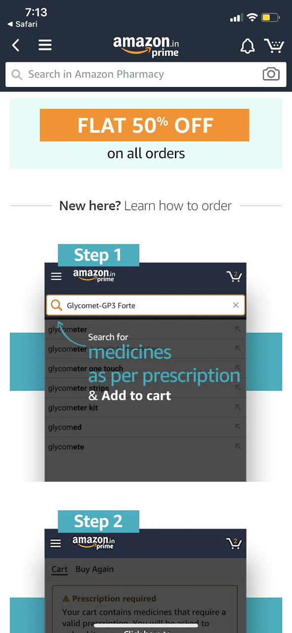 Screen grab of Amazon.in's website