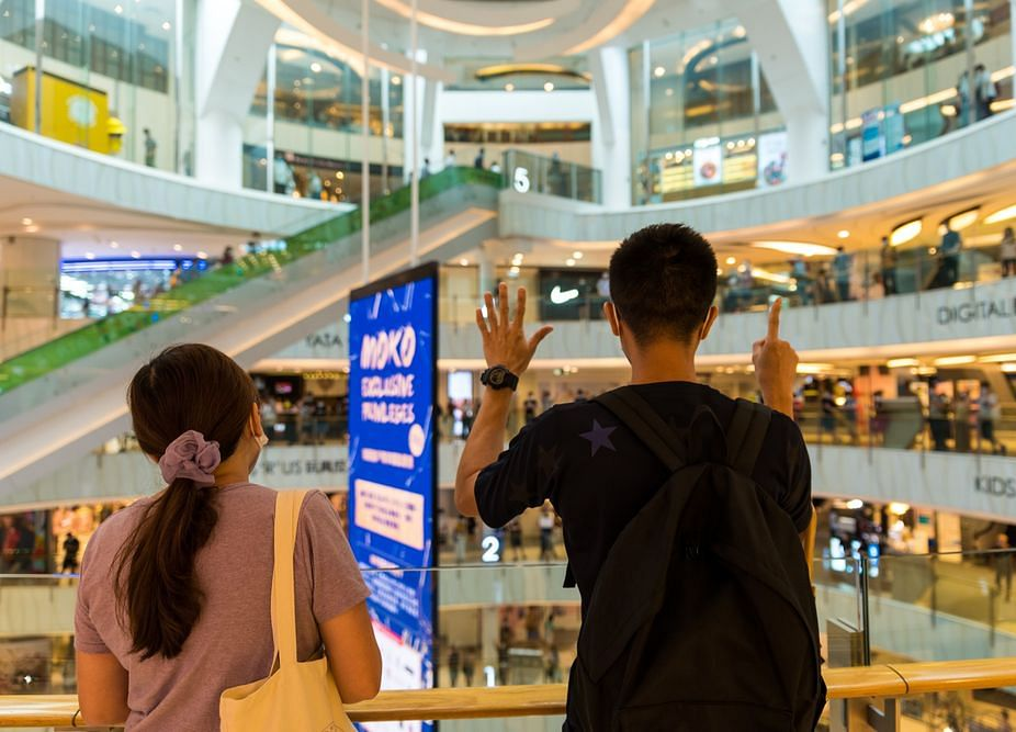 Hong Kong Protesters Stage Demonstration Inside Shopping Mall