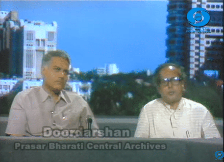 Then Finance Minister Yashwant Sinha and Former Finance Minister Pranab Mukherjee discuss election results and the economic crisis, in the DD studios in June 1991. (Image from Prasar Bharati Central Archives)