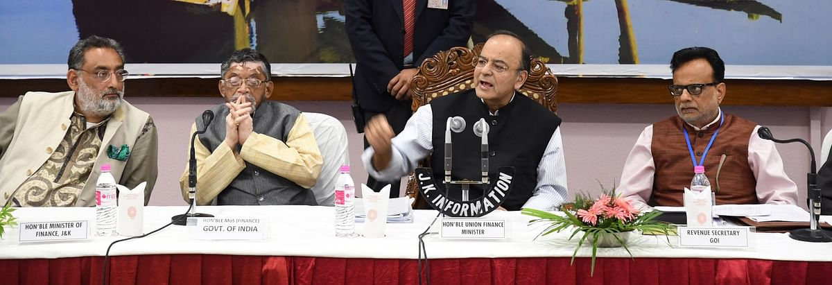 Then Union Finance Minister Arun Jaitley with J&K FM Haseeb Drabu,  MoS Finance Santosh Gangwar, and Revenue Secretary Hasmukh Adhia, on May 19, 2017. (Photograph: Arun Jaitley/Twitter)