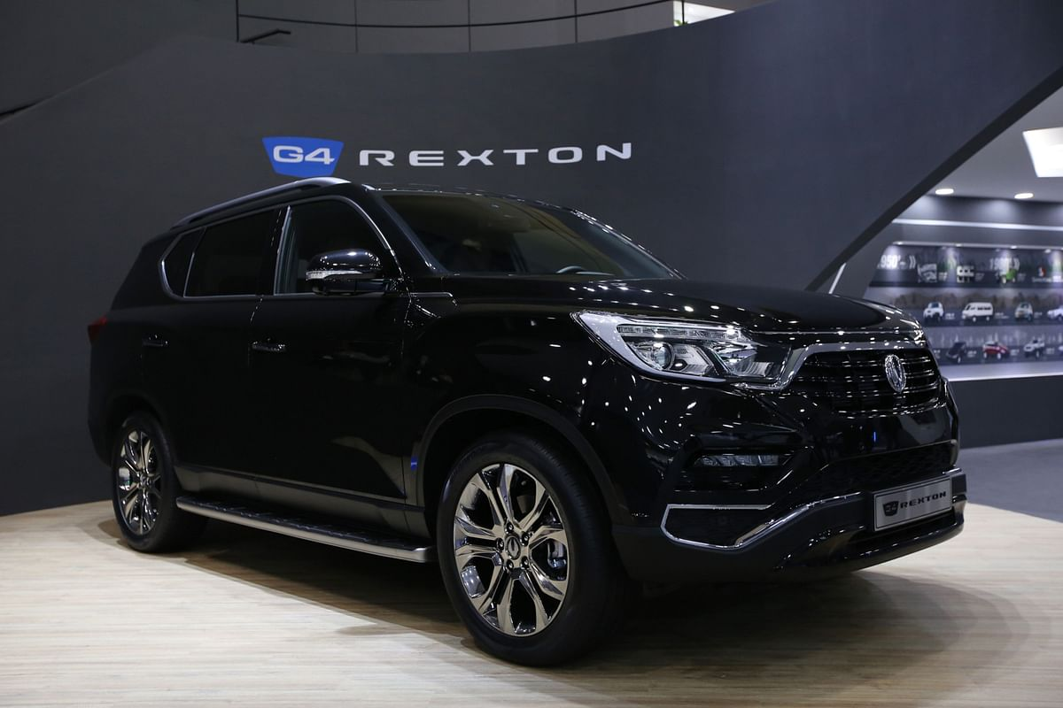 A Ssangyong Motor Co. G4 Rexton sport-utility vehicle (SUV) stands on display during the press day of the Seoul Motor Show in Goyang, South Korea. (Photographer: SeongJoon Cho/Bloomberg)
