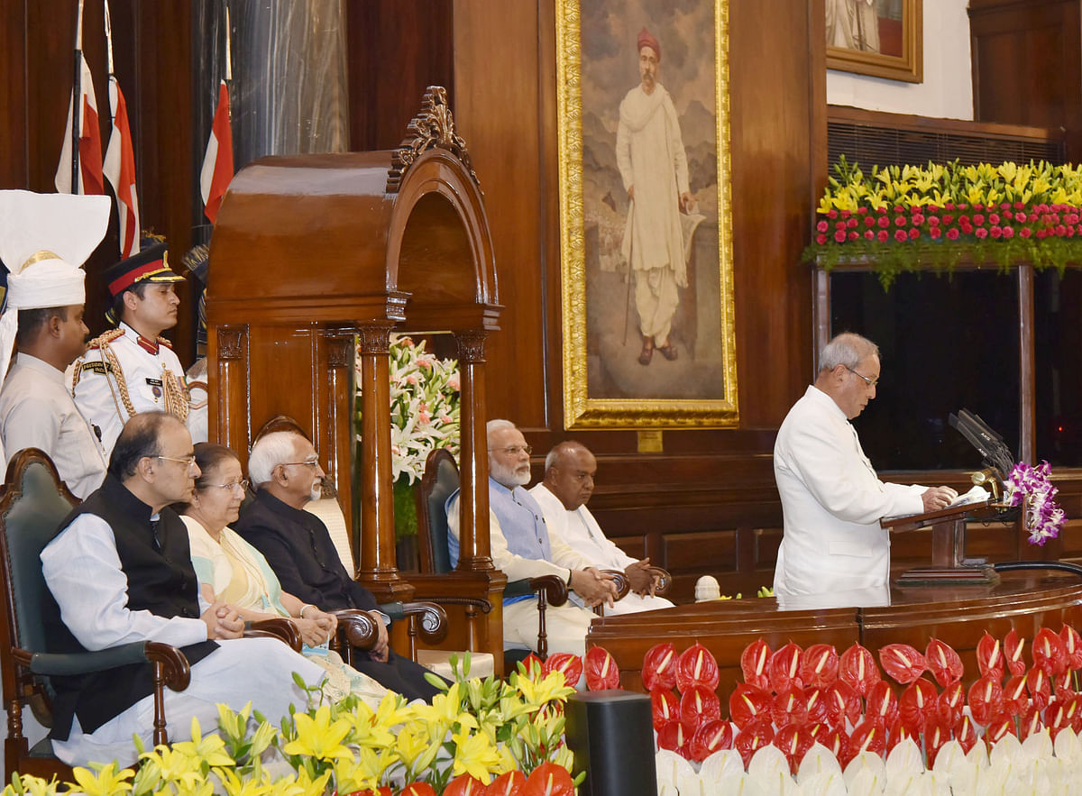 Then President, Pranab Mukherjee addressing at the ceremony to launch the GST, in Central Hall of Parliament, in New Delhi on June 30, 2017. (Photograph: PIB)