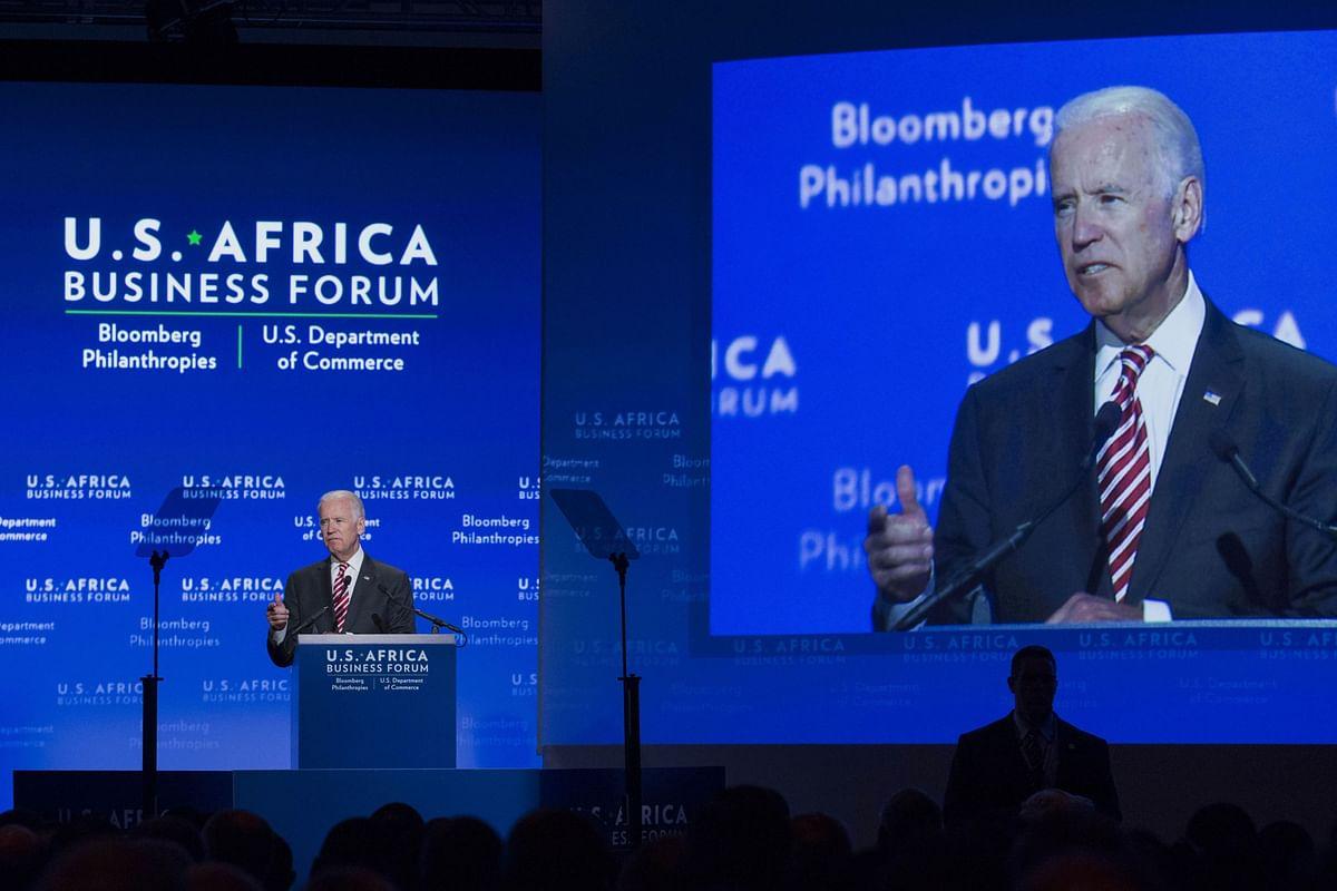Joe Biden, speaks at the US-Africa Business Forum in Washington, D.C., U.S., on Aug. 5, 2014. (Photographer: Drew Angerer/Bloomberg)