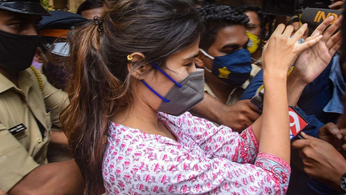 Rhea Chakraborty outside the NCB office, at Ballard Estate, in Mumbai. (Photograph: PTI)