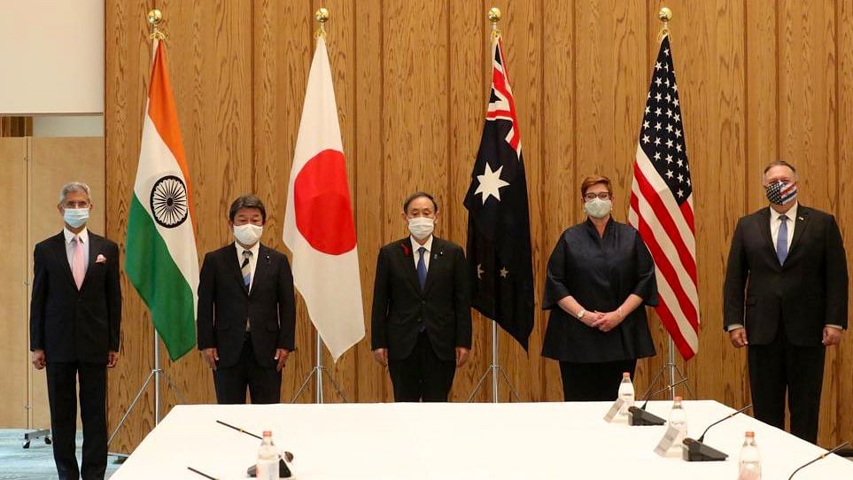 The Foreign Ministers of India, Japan, Australia, and the United States, at a 'Quad' meeting in Tokyo, on Oct. 6, 2020. (Photograph: S Jaishankar/Twitter)