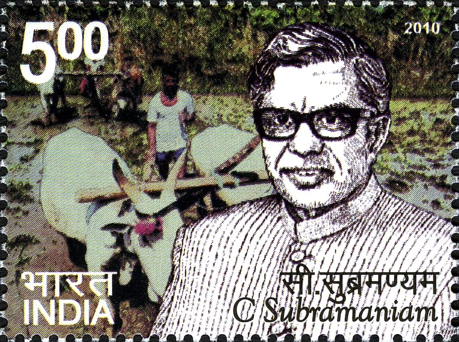 C Subramaniam on a 2010 stamp. (Image: India Post)