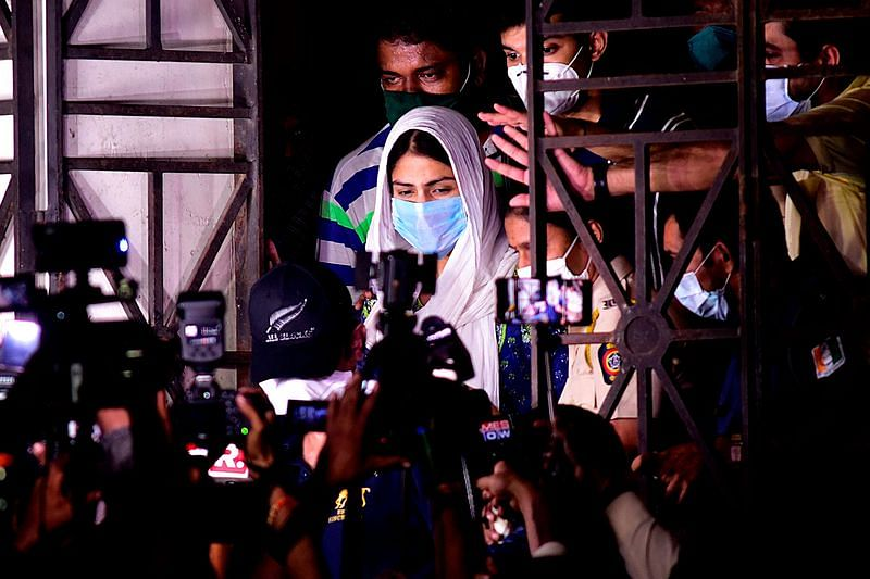 Actress Rhea Chakraborty on Aug. 7 after being questioned by authorities in Mumbai about the suicide of Sushant Singh Rajput. PHOTOGRAPHER: SUJIT JAISWAL/AFP/GETTY IMAGES