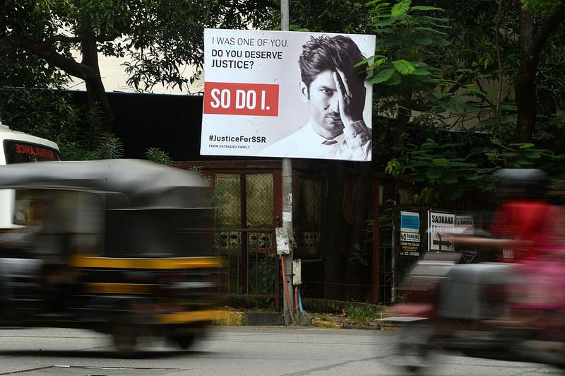 A billboard with Sushant Singh Rajput in Mumbai on Sept. 28. PHOTOGRAPHER: INDRANIL MUKHERJEE/AFP/GETTY IMAGES