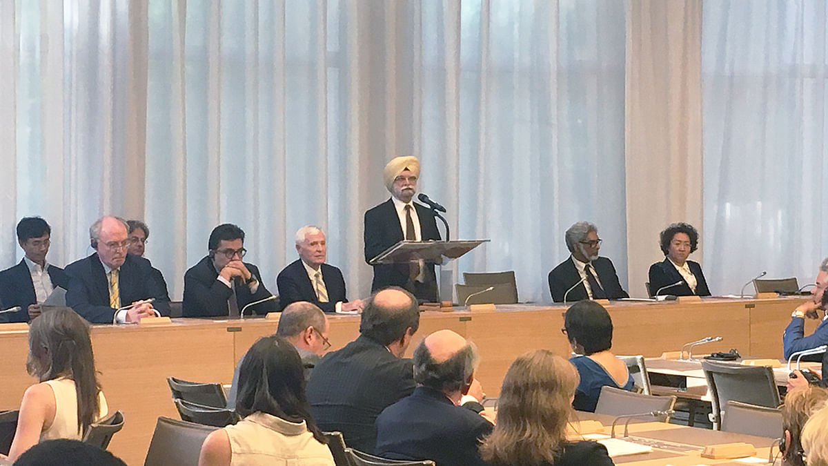 The WTO's Appellate Body, then headed by Ujal Singh Bhatia, in Geneva, on June 8, 2017. (Photograph: WTO)