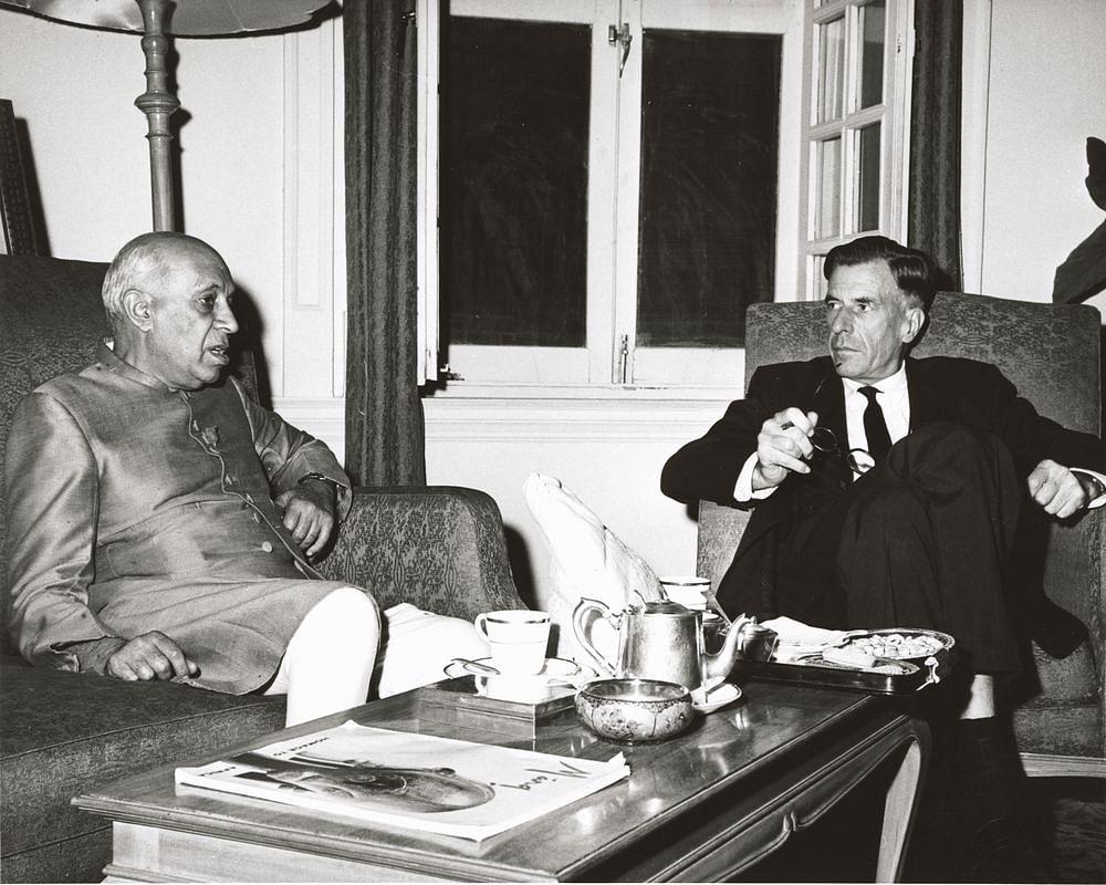 Prime Minister Jawaharlal Nehru and U.S. Ambassador  John Kenneth Galbraith, on Nov.  9, 1962. (Photograph: JFK Library)