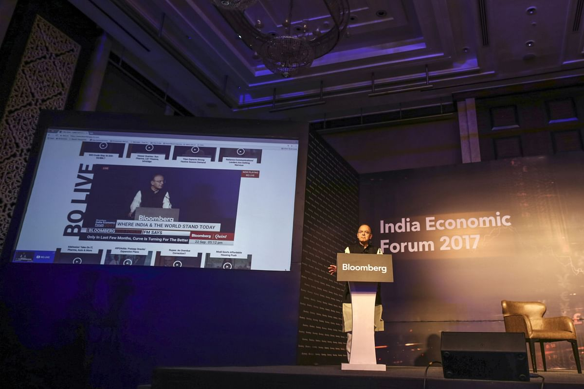 The launch of BloombergQuint's livestream, at the Bloomberg India Economic Forum, in Mumbai, on Sept. 22, 2017. (Photographer: Dhiraj Singh/Bloomberg)