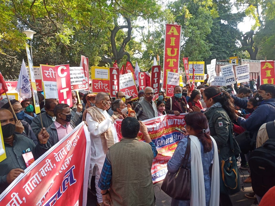 Over 25 Crore Workers Hit The Streets Against New Labour, Farm Laws