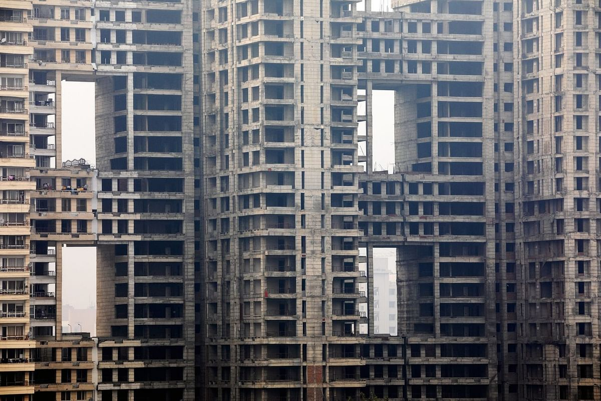 Unfinished apartments, abandoned part way through construction, Uttar Pradesh, January. (Photo: Prashanth Vishwanathan/Bloomberg)