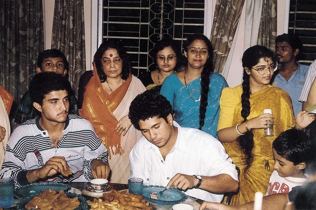 """Sachin Tendulkar and Sourav Ganguly at the latter's grandparent's house. Tendulkar posted this image on social media with the caption: """"Throwback to a fun evening spent at Dadi's home. Relished the food & warm hospitality. Hope your mother is doing well, my best wishes to her."""""""