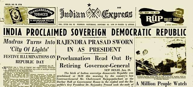 """(Photo Courtesy: <a href=""""http://www.cuttingthechai.com/2012/01/5536/when-india-became-a-republic-front-page-of-the-indian-express-january-28-1950/"""">Cutting the Chai)</a>"""