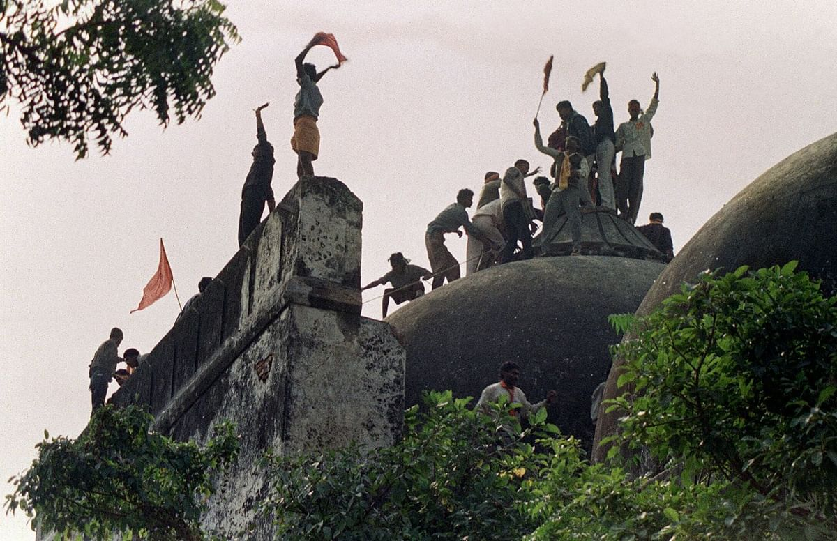 Babri Masjid hours before it was demolished by Hindu nationalists in 1992. (Photo: Douglas E. Curran/AFP via Getty Images)