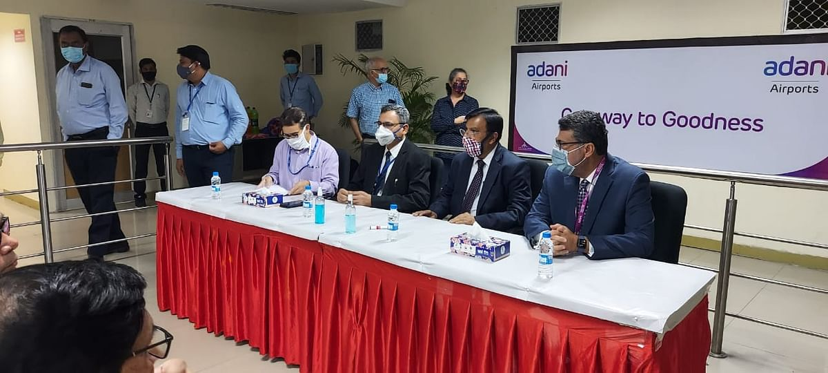 Adani Airports officials at the event to mark the leasing of Lucknow airport. (source: Airports Authority of India)a