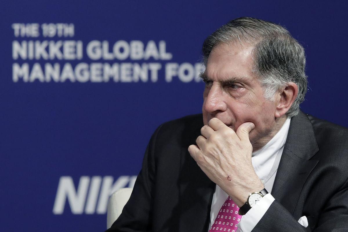 Ratan Tata, chairman emeritus of Tata Sons Ltd., pauses during a forum in Tokyo. (Photographer: Kiyoshi Ota/Bloomberg)
