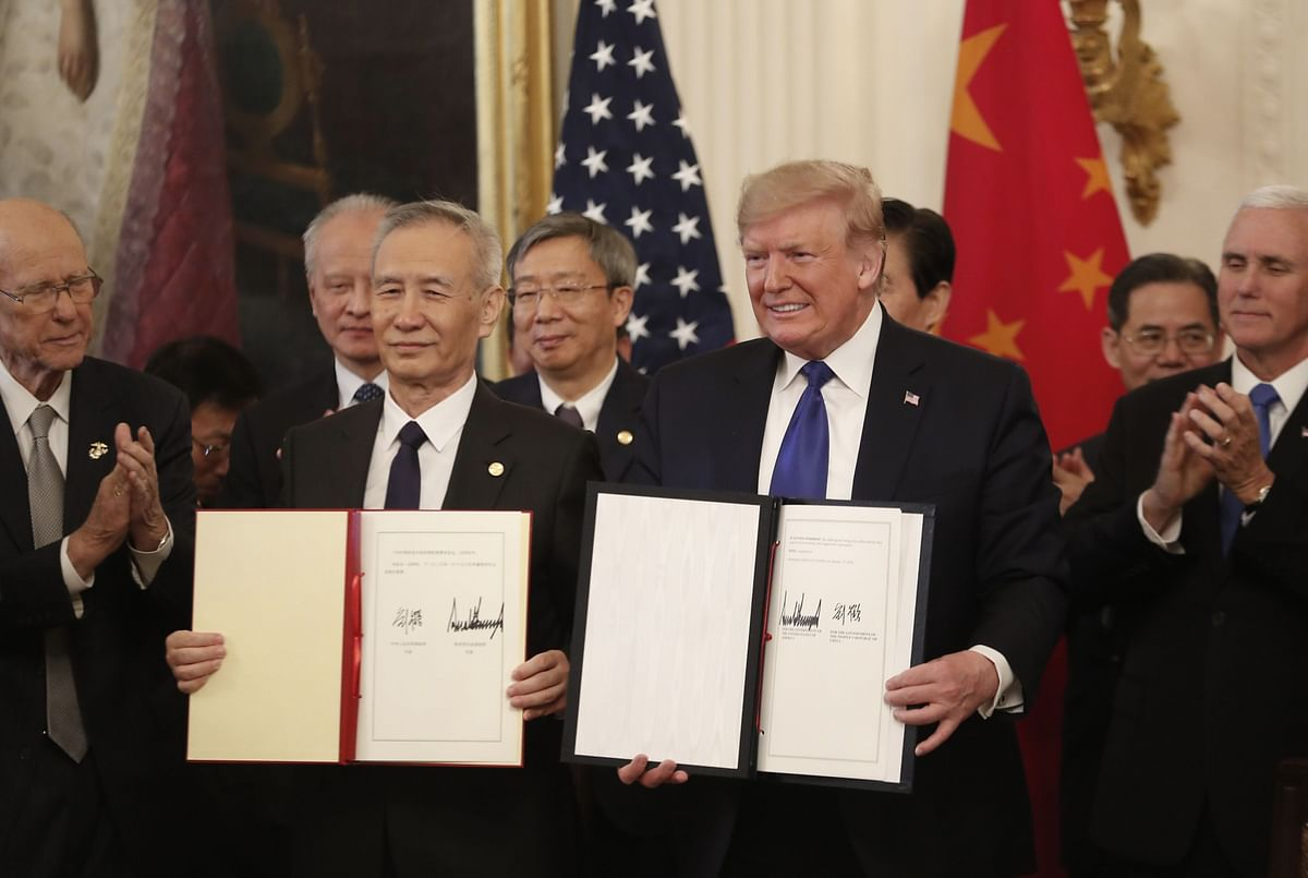 The signed U.S.-China phase-one trade agreement, in Washington, D.C., on Jan. 15, 2020. (Photographer: Zach Gibson/Bloomberg)