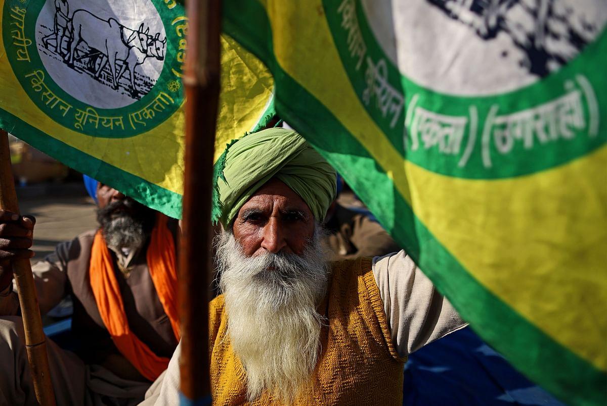 Farmers gathered at a protest site on the Delhi-Haryana border crossing in Tikri, Delhi, India. (Photographer: Anindito Mukherjee/Bloomberg)