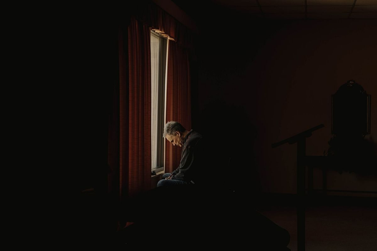 Unable to gather in mosques, synagogues of churches, the religious searched for new ways to show their faith. A man sits alone at the First Baptist Church in West Memphis, Arkansas, on April 5.Photographer: Houston Cofield/Bloomberg