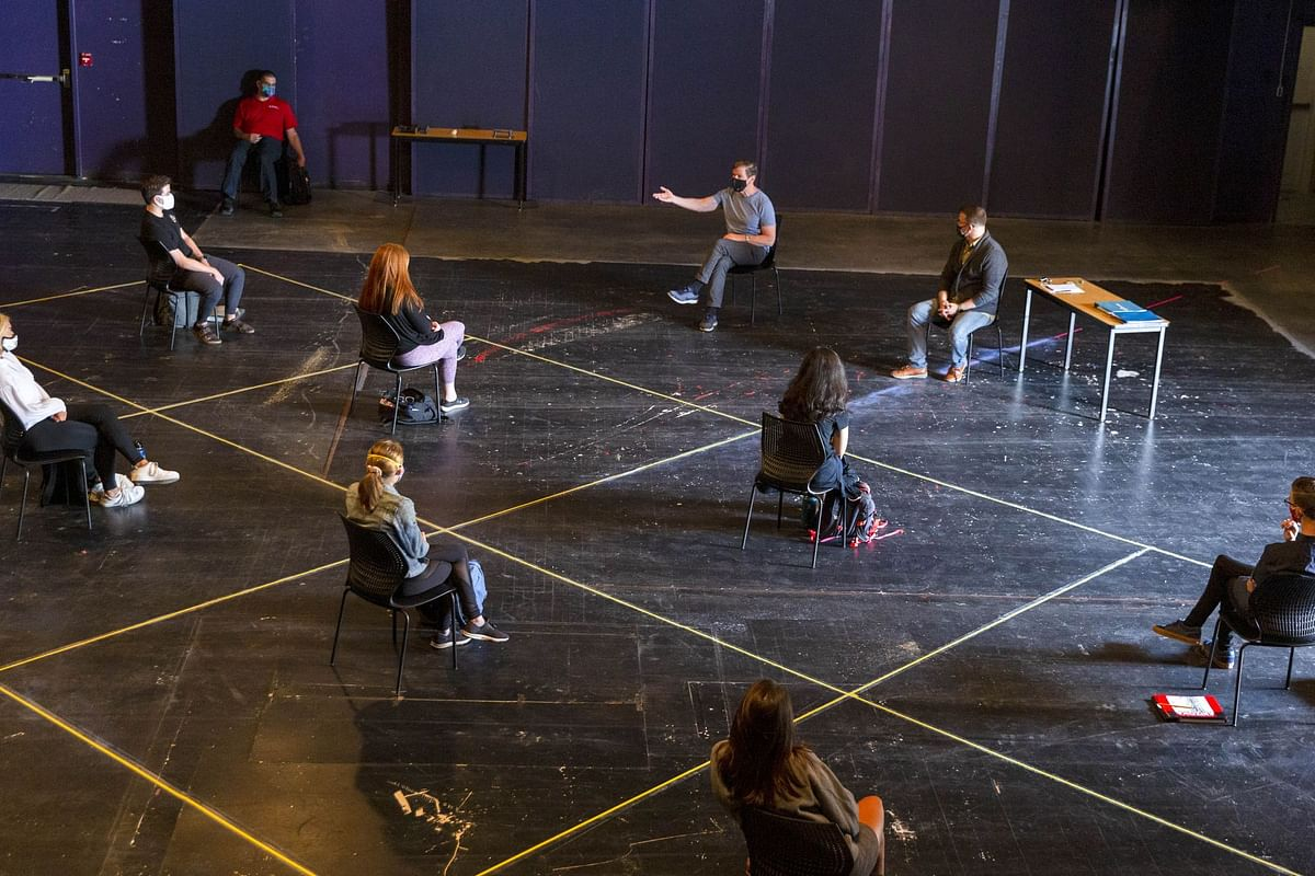 An acting class at the University of Arizona in Tucson on Aug. 24. Photographer: Cheney Orr/Bloomberg
