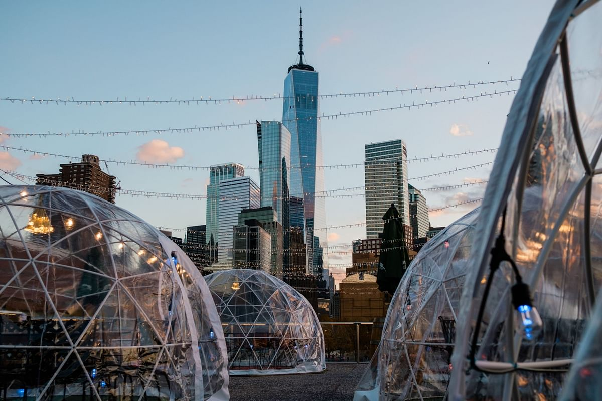 Bubble dining tents at a restaurant in New York City on Nov. 10. Restaurants scrambled to find ways to serve customers while avoiding Covid-19 transmission. Photographer: Gabriela Bhaskar/Bloomberg