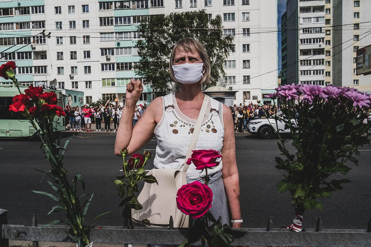 In Belarus, hundreds of thousands of people joined rallies like this one in Minsk on Aug. 15 calling for President Alexander Lukashenko's resignation. He responded to protests with mass arrests and brutal crackdowns. Photographer: Evgeny Maloletka/Bloomberg