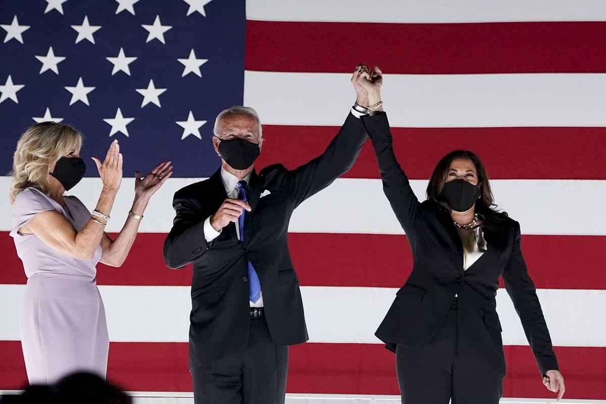 Joe Biden and running mate Kamala Harris during the virtual Democratic National Convention in Wilmington, Delaware, on Aug. 20. Photographer: Stefani Reynolds/Bloomberg