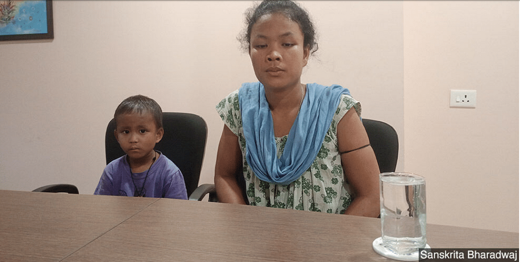 Malabika Boro with her son Montu. Montu was diagnosed with blood cancer during the first phase of India's Covid-19 lockdown when all transport facilities were shut.